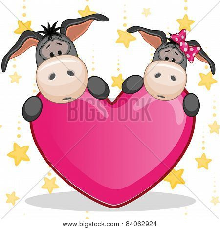 Lovers Donkeys With Big Pink heart