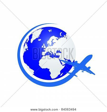 Planet With Airplane Color Vector