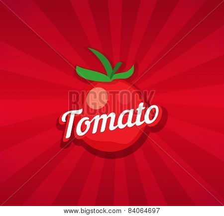 Tomato On Red Background