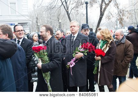 Minister Of The Government Of Moscow Sergei Kapkov At The Funeral Of Boris Nemtsov