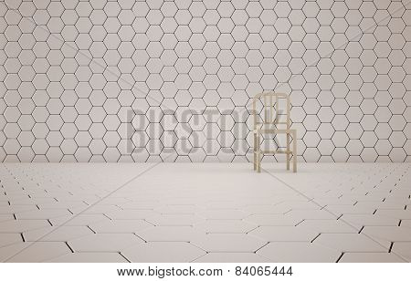 Abstract background of the chair on white mesh grid