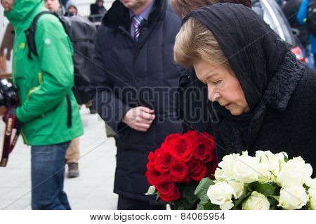 Naina Yeltsin, The Widow Of President Boris Yeltsina, At The Funeral Of Boris Nemtsov