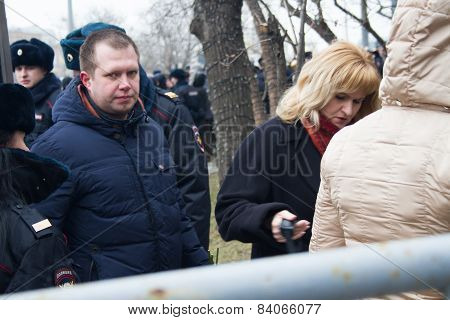Opposition Politician Nikolai Lyaskin At The Funeral Of Boris Nemtsov