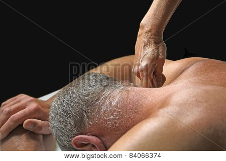 Therapist applying pressure to client's neck