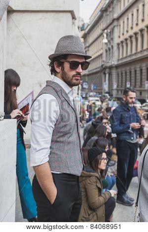 People Outside Ferragamo Fashion Show Building For Milan Women's Fashion Week 2015