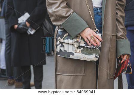 Detail Of Bag Outside Ferragamo Fashion Show Building For Milan Women's Fashion Week 2015