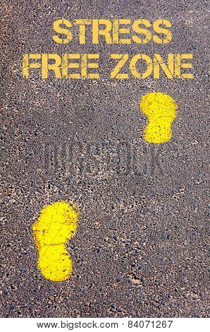 Yellow Footsteps On Sidewalk Towards Stress Free Zone Message