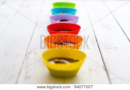 Chocolate Truffles In Colorful Cups