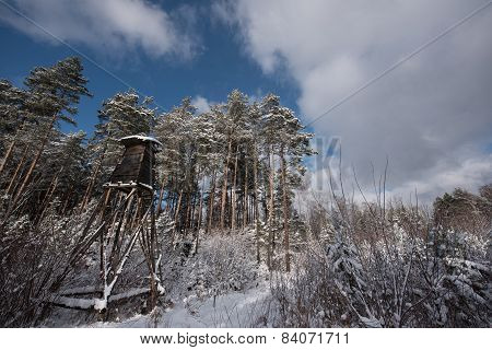Hunting Tower Near Edge Of The Forest In Winter