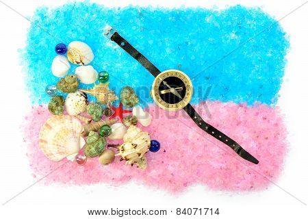 Sea Shells And Compass On Blue Pink Salt