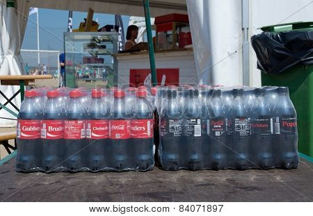 Bottles of soda delivered to the Beach Soccer Tournament