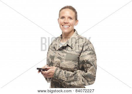 Portrait Of Female Airman With Mobile Phone