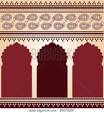 Burgundy and cream Asian temple background