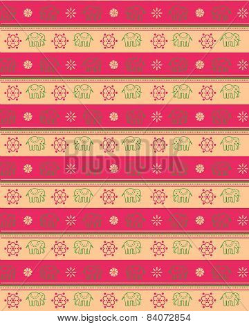 Pink and cream Asian elephant pattern