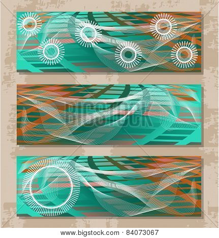 Set of three modern, abstract banners