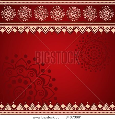 Red Indian henna mandala background