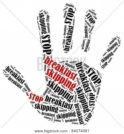 Word Cloud Illustration In Shape Of Hand Print Showing Protest.