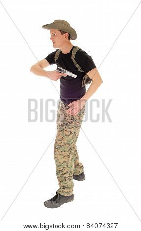 Soldier Pulling His Handgun.