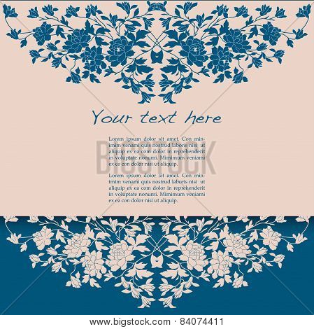 Blue Classical Floral Horizontal Banner