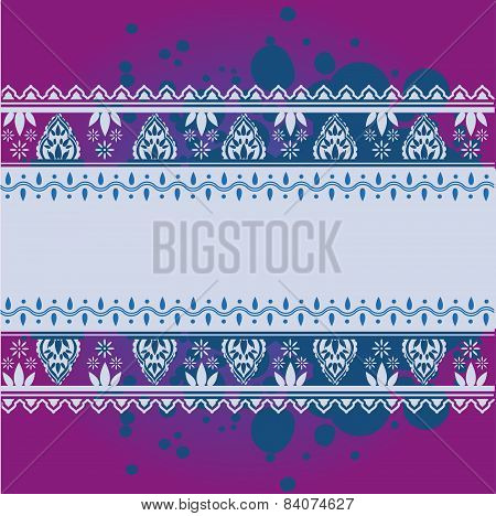Purple and blue Indian henna banner