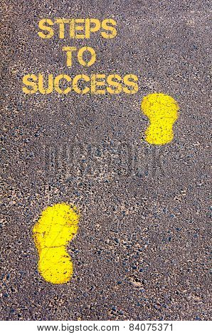 Yellow Footsteps On Sidewalk Towards Steps To Success Message