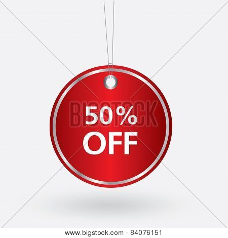 red oval discount 50 percent