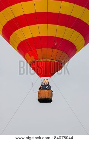 Red and Yellow Hot Air Balloons in Flight. Outdoor, Colorful, Close up