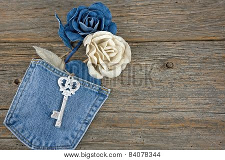 denim roses and old key