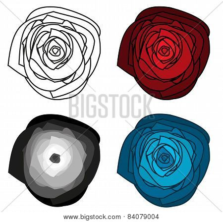 Set Of 4 Isolated Abstract Roses