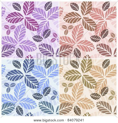 Set of floral seamless patters