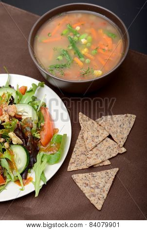 Soup, Salad And Chips