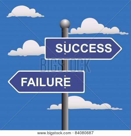 Two-way, street, sign, success, failure, crossroads