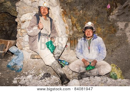 Silver Miners Relaxing In Potosi, Bolivia