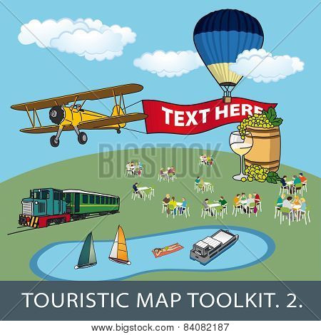 touristic map with different objects