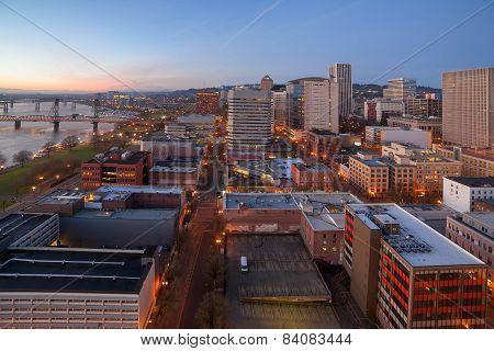 Portland Oregon Cityscape Aerial View