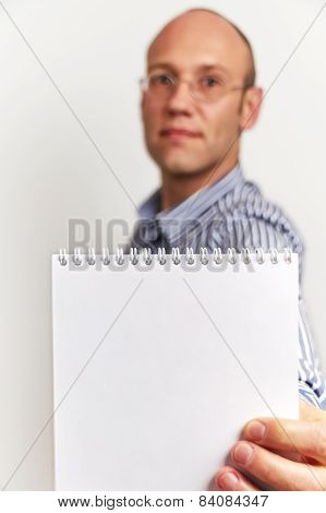Businessman Shows Blank Diary