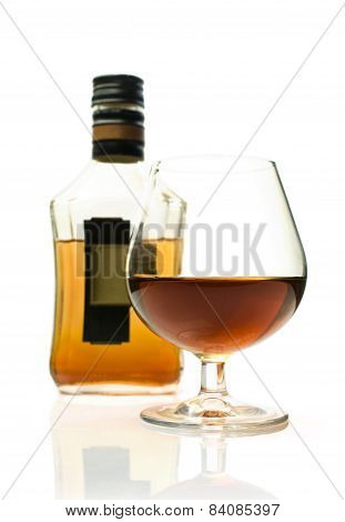 Bottle Of Brandy And A Glass