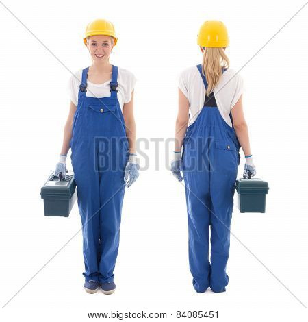 Front And Back View Of Woman In Blue Builder Uniform With Toolbox Isolated On White
