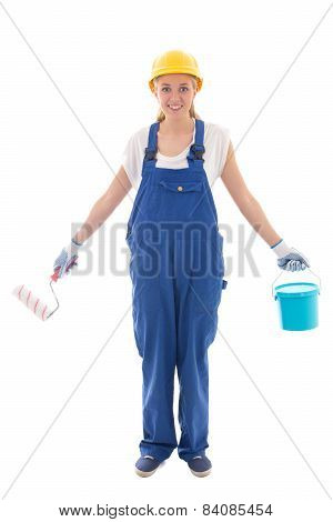 Woman In Blue Builder Uniform With Paint Brush And Bucket Isolated On White