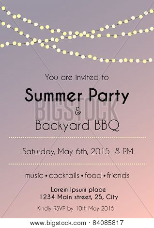 Sunset Summer party invitation