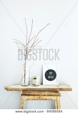 Motivational Frame Be You With Glass Bottles. Scandinavian Hipster Style Room Interior