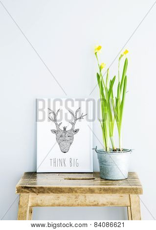 Motivational Frame Think Big  With Doodle Deer And Flower. Scandinavian Hipster Style Room Interior