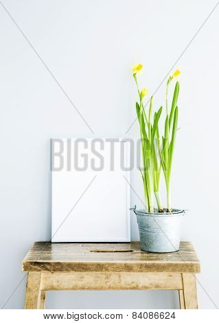 White Frame With Place For Text  With Potted Narcissus. Scandinavian Hipster Style Room Interior