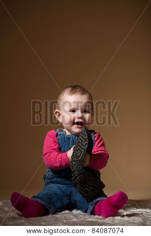 Infant Baby With Black Hat