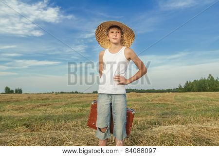 Joyful Teenage Hitchhiker In Countryside Road