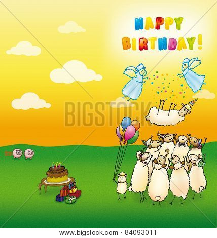 Happy birthday cards sheeps