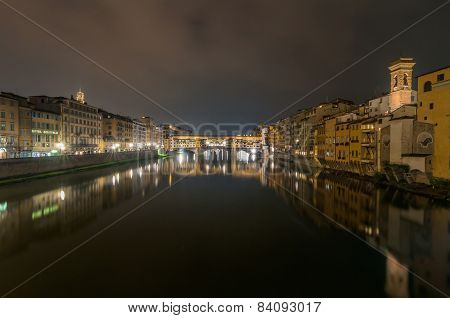 River Arno And Ponte Vecchio Night View In Florence