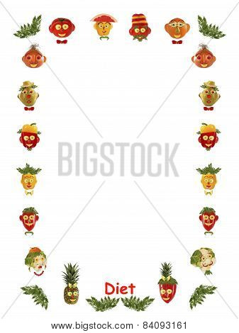 Diet. Different Faces,  Made Of Vegetables And Fruits - Frame.