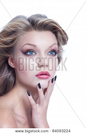 Young Woman With Blowing Hair High End Beauty
