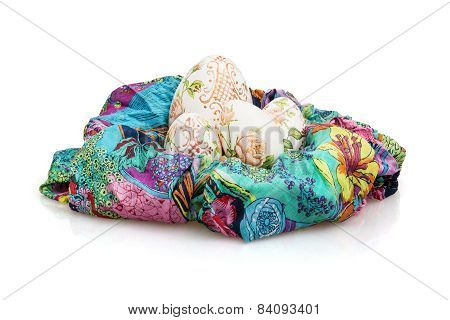 Easter Eggs And Colorful Scarf On The White Background